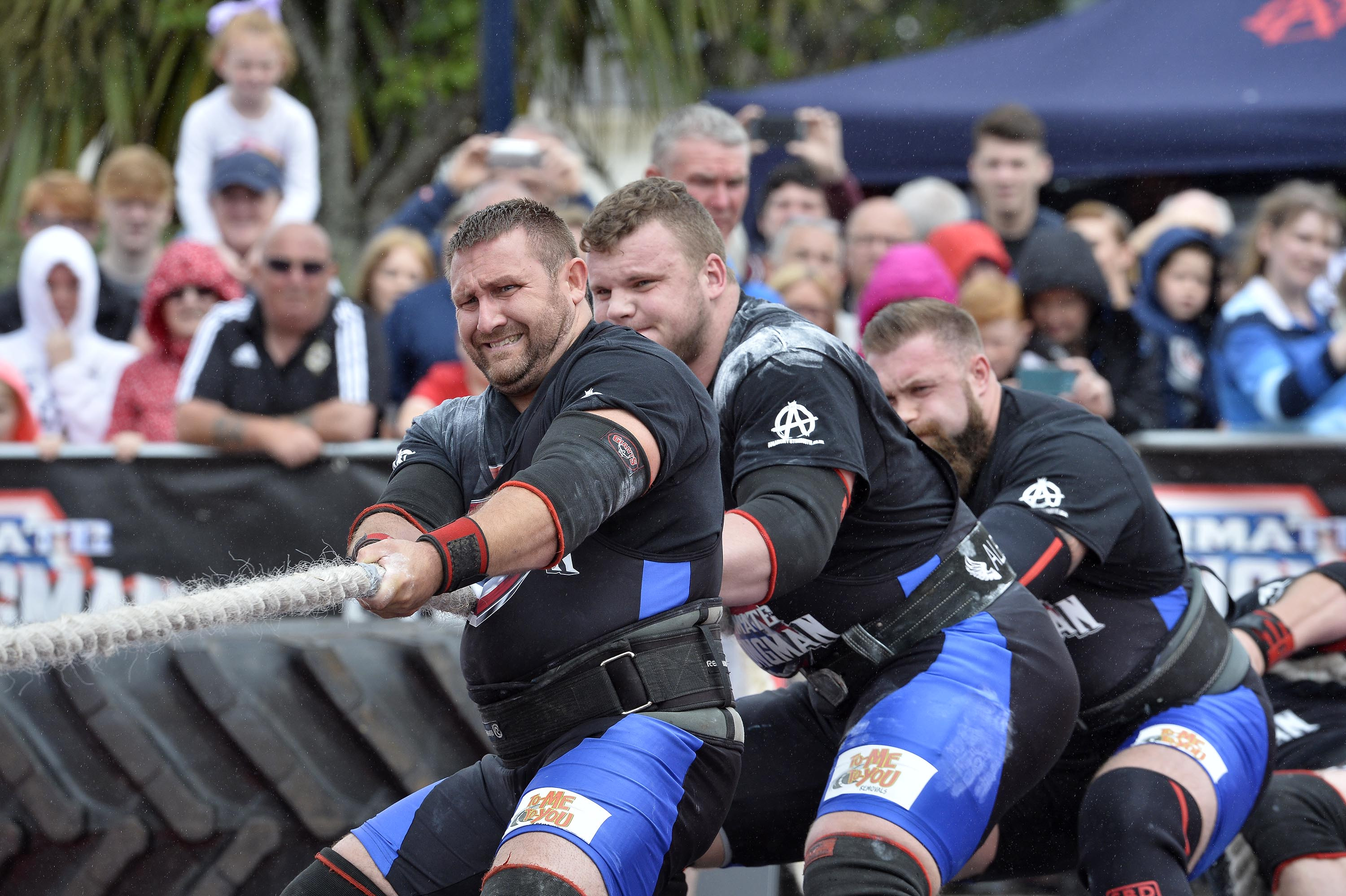 Team Scotland in action in the Tug Of War. Ultimate Strongman Battle of Britain.